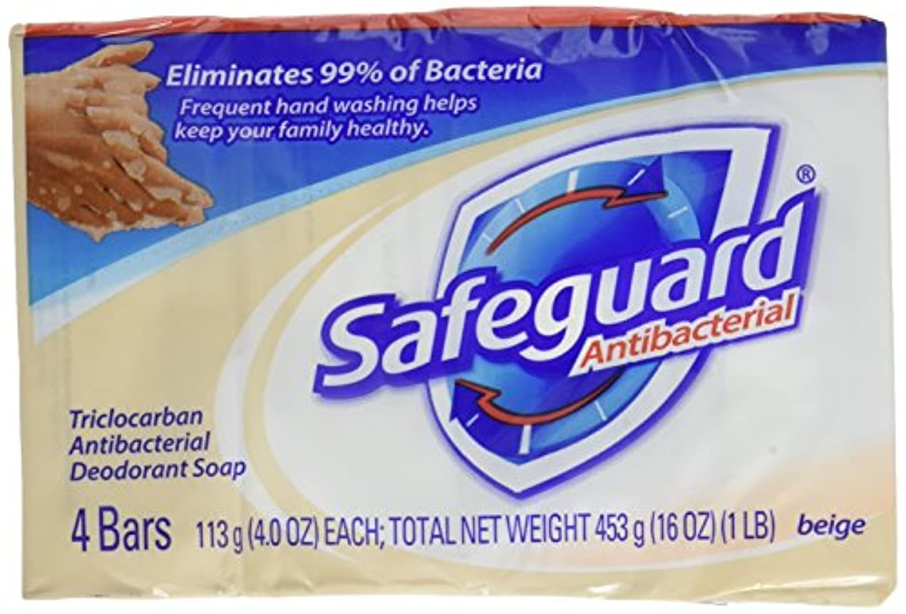 センター漂流オークSafeguard antibacterial deodorant bar soap, Beige - 4 Oz, 4 ea by Safeguard