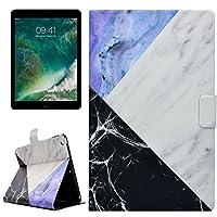 Qin Fanglin iPad 9.7インチ2017ケース、PU + TPUホワイトとブルーのマーブルパターン水平フリップレザーケース(iPad 9.7インチ(2017)用ホルダーとカードスロット付き) (SKU : Ip7d9402h)