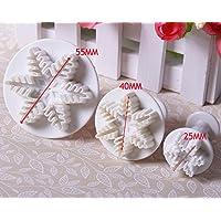 Lovoski 6ピース フォンダン/ケーキカッター  プランジャ  (雪の結晶)スノーフレーク型  DIY料理 クラフト用 ホワイト 3種類のサイズ