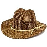 ハッピーハット つば広 ラフィア中折れハット 麦わら テンガロン 天然素材 hat-1229-02 ブラウン