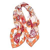 Kerwinner New Zodiac Figure 90cmスクエアシルクツイルスカーフ100%マルベリーシルクレディーススカーフショール (Color : Orange)