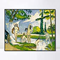 """INVIN ART Framed Canvas Giclee Print Art Bathers 1875 by Paul Cezanne Wall Art Living Room Home Office Decorations(Black Slim Frame,20""""x24"""")"""
