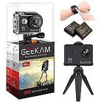 GEEKAM アクションカメラ 4K WiFi 1200万画素 170度広角レンズ 30メートル防水 2インチ LCD リモコン付きスポーツカメラ ウェアラブルカメラ&豊富な付属品付き