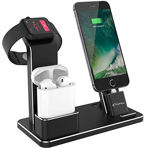 Apple Watch スタンド, YoFew Apple Watch Series 2アルミニウム4イン1Apple Watch 充電 スタンド ホルダー Airpods 充電スタンド 充電 クレードル ドック Airpods アップルウォッチ シリーズ 2 / シリーズ/iPhone 7/7 Plus / 6/6 Plus/ 5s / iPad (黒)