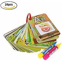 26pcs水マジックペイントカード& 2pcs Magic Drawingペン、子供用認識機能カードA - Zアルファベット図面DoodleボードBookカード教育玩具ギフト幼児用ベビー用