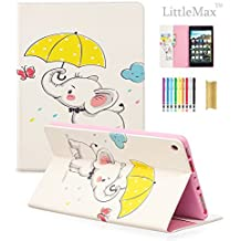 LittleMax(TM) Fire HD 8 Case,Colorful PU Leather Kickstand Protective Cover with Auto Wake/Sleep for Amazon Kindle Fire HD 8 8th Gen 2018 Release & 7th Gen 2017 Release -# Yellow Umbrella Elephant