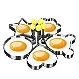 フライドエッグモールド5PCSステンレス鋼で制作して、かわいい形のパンケーキの金型キッチンツール lovemmm