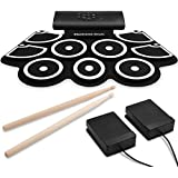 9-Pads Electronic Drum Set, Thickened Hand Roll Up Drum Practice Pad, Built in Speakers, Rechargeable Battery, MIDI Function,