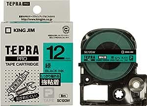 キングジム テープカートリッジ テプラPRO SC12GW 強粘着 12mm 緑