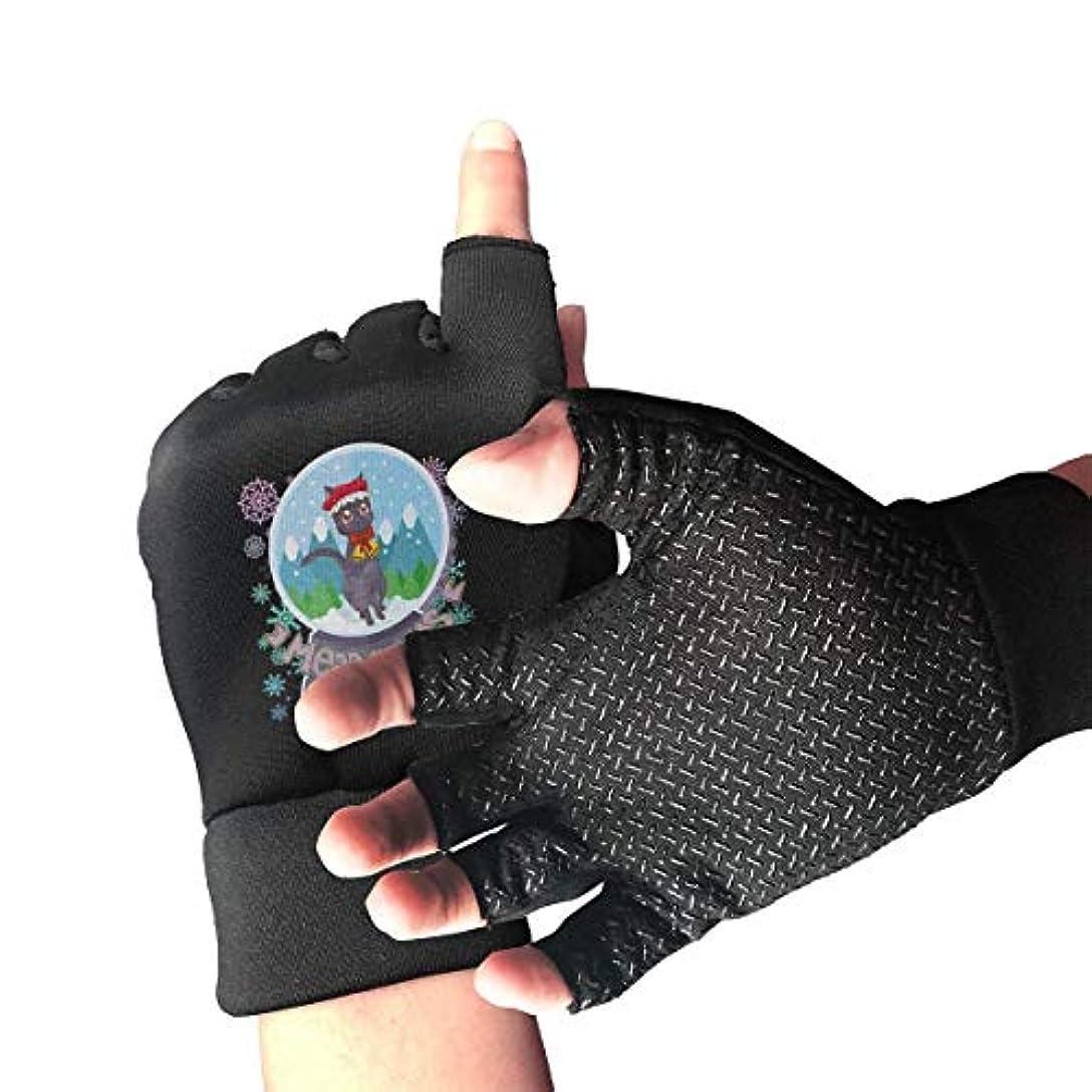 将来の書士累積Cycling Gloves Christmas Cat Men's/Women's Mountain Bike Gloves Half Finger Anti-Slip Motorcycle Gloves