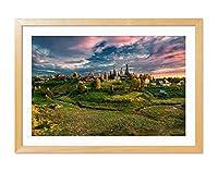 木の色木製フレーム ホーム装飾ポスター 額入り絵画(ロシア、村、木、草、秋、雲)60x40cm