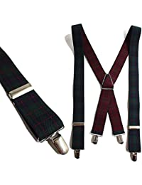 QUINTETTO 日本製 タータンチェック柄 サスペンダー X型 メンズ フォーマル 吊りバンド ズボン吊り ブレイシーズ 35mm幅 太め 16-4117-2-a