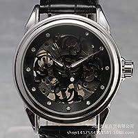 QTMIAO美しい機械式時計 Watch機械式時計中空バックメンズ機械式時計ベルトウォッチ (Color : 2)