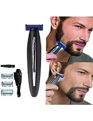 男性のための電気かみそり、髪のクリーニングシェーバートリマーと防水スマートかみそり、男性のための眉毛のひげのフェイシャルとボディヘアーのための毛の除去剤, black