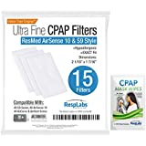 CPAP Filters ResMed AirSense, AirCurve - S9, AirStart, Autoset 10 | Disposable Universal Replacement Elite Air Filter Kit, for Mask Machine, RespLabs (15 Pack)