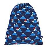 手作り 和柄 巾着袋 青×富士山 和小物 和雑貨 和風小物