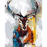 Wowdecor Paint by Numbers Canvas Kits for Adults Beginner Kids, DIY Acrylic Number Painting - Abstract Colorful Deer 16x20 inch - Wall Art Digital Oil Painting Home Decor Christmas Gifts (Frameless)