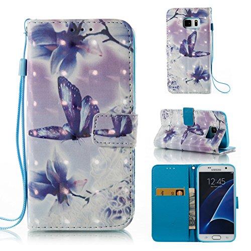 SevenPandaの革Samsung Galaxy S7 Edgeケース PUレザーケースカバー傷耐性衝撃吸収財布ブックケース保護3Dパターンパターン携帯電話保護マットシェルポケットカードスロットスタンド - 蝶/花