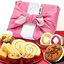 お中元 の ギフト プレゼント 人気スイーツギフトセット 竹籠入り風呂敷包 (ピンク色風呂敷)