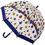 CLIFTON UMBRELLAS Raindrops Design Kid Friendly PVC Birdcage Umbrella, Rainbow, One Size