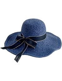 夏の青い麦わら帽子 - エレガントな大きな盛り合わせの日帽子夏の海辺の休暇のビーチ帽子 (色 : A)