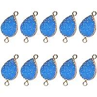 Generic 10pcs Crystal Dangle Charms Pendants Quartz Drop Beads Water Drop Shaped Gem Beads DIY Jewelry Pendant(White)