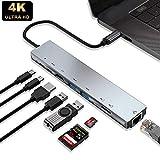 USB C Hub, WUKUR USB Type C Adapter, 8 in 1USB Type C Hub with 4K HDMI Port&2USB 3.0 Port, 2USB C Female Port &SD&TF Card Reader& RJ45 1000mbps Ethernet Port(MacBook Pro & Air Compatible)