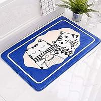 XISENHAN 浴室吸収フロアマットトイレのドアマットホーム浴室ドア浴室マットドアマットコーヒー猫 - グレー/ブルー/コーヒー (Color : Blue, Size : 50*80cm)