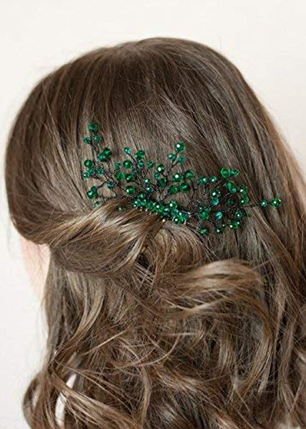 FXmimior Bridal Women Green Vintage Wedding Party Crystal Rhinestone Vintage Hair Comb Hair Accessories [並行輸入品]