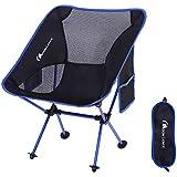 Moon Lence アウトドア チェア キャンプ 椅子 折りたたみ アルミ合金&オックスフォード コンパクト 超軽量 収納バッグ キャンプ アウトドア ハイキング 耐荷重150kg (ダークブルー-ポケットつき)