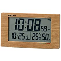 セイコー クロック 目覚まし時計 電波 デジタル カレンダー 快適度 温度 湿度 表示 薄茶 木目 SQ784A SEIKO