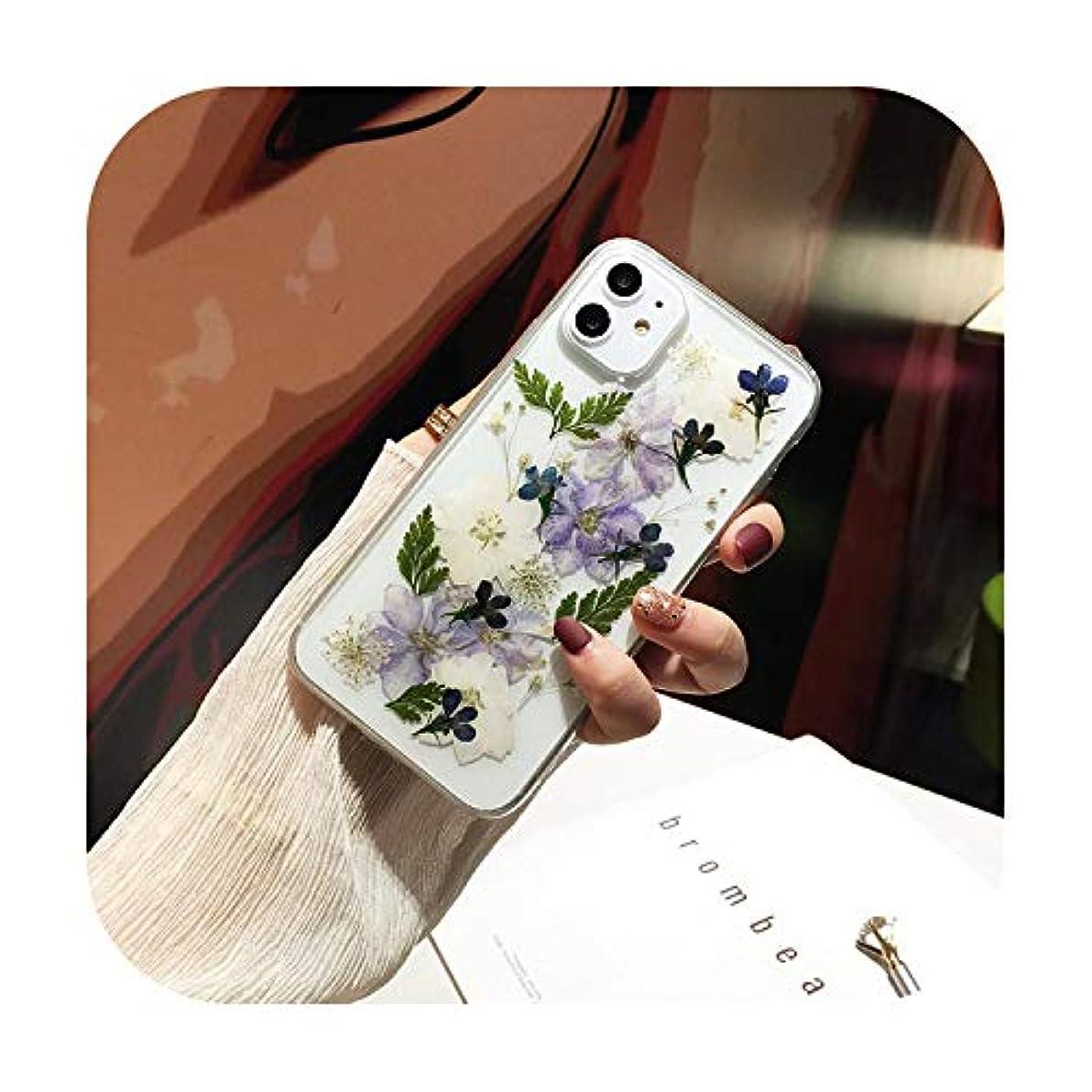 スコットランド人勤勉な弾性乾燥リアルフラワーハンドメイドクリアプレス電話ケースfor iPhone 11 Pro Max X XS Max XR 6 6S 7 8 Plus SE 2020ソフトカバー-8-for iPhone SE 2020
