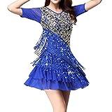 (オーセンティック) AUTHENTIC レディース ドレス フリンジ キラキラ ラテン チャチャ モダン 競技用 社交ダンス (2XL, ブルー)