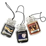 Yankee Candle Car Jar Ultimate Hanging Air Freshener, Leather, Midsummer's Night and New Car Scent, 3 Pack