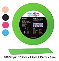 Green Bulk Precut MUSCLE FIX Kinesiology Recovery Sports Athletic Injury Therapeutic Support PRO Tape Roll (100 Strips 10 in X 2 In / 25 cm x 5 cm) [並行輸入品]
