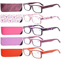 Eyekepper 5-Pack Spring Hinges Patterned Rectangular Reading Glasses Readers Women +2.0
