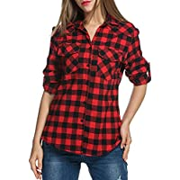 Genhoo Women's Roll Up Long Sleeve Tartan Plaid Collared Button Down Boyfriend Casual Flannel Shirt Top