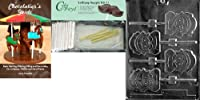 Cybrtrayd 45StK25T-T016 Pilgrim Lolly Girl Thanksgiving Chocolate Mould with Chocolate Packaging Kit, Includes 25 Cello Bags, 25 Gold Twist Ties and Chocolate Moulding Instructions
