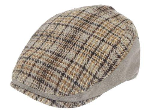 クラシカルな ハンチング ハット! ウール混 紳士 帽子 メンズ チェック スエード M L グレー ブラウン (L58cm, グレー)