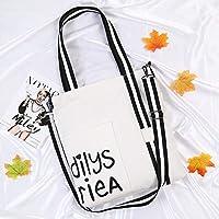 Student Tote Bag, Female Black and White Shoulder Strap High Capacity Canvas Shoulder Bag Shopping Travel Handbag (White) Polykor