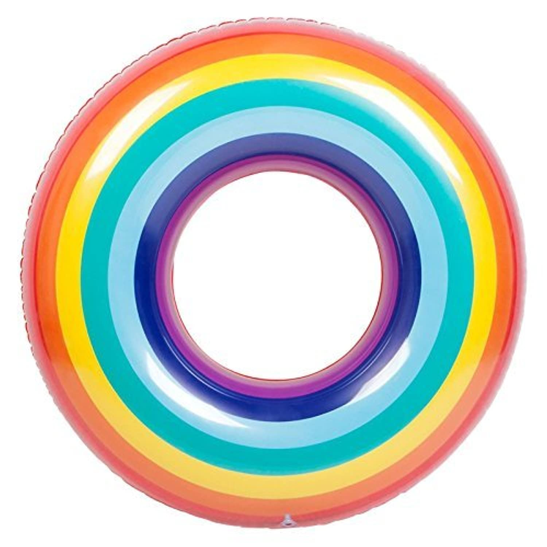 MANLERSPORT 浮き輪 大人用 フロート 空気入れ 夏の日 強い浮力 水泳/海/プール/海水浴場に最適 カラフルな大人水遊び用 ドーナツフロート (レインボー 90cm)