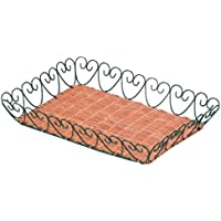 トレー ラタン 籐 かご 小物入れ ワイヤー L グリーン 約30×40×6cm 50-68GR
