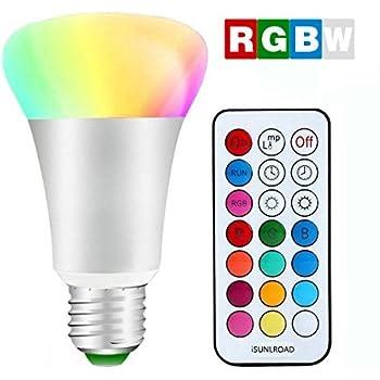 Minger LED RGBW 電球 リモコンの色変更12色選択 10W 昼光色6000K E26口金 スマートLED電球 IRワイヤレスリモコン付き