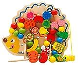 ShanTrip 知育 ビーズ 紐通し 知育玩具 木製 ハリネズミ 赤ちゃん 積み木 おもちゃ 出産祝い