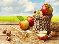 LovetheFamily 蜂蜜、クルミ、りんご 数字キットによる絵画 数字油絵 数字キット塗り絵 手塗り DIY絵 デジタル油絵 ホーム オフィス装飾 (40x50cm, フレーム付き)