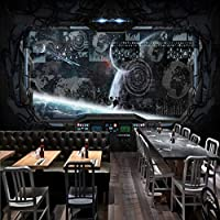 Lixiaoer 写真の壁紙カスタム3Dステレオレストラン壁画Hdインターネットカフェ壁画宇宙宇宙キャビン宇宙船壁画-200X140Cm