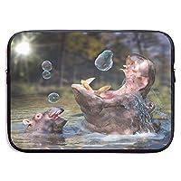 Custom Laptop Sleeve 13/15 Inch Macbook Zipper Briefcase Hippopotamus Print Portable Messenger Bag,13Inch