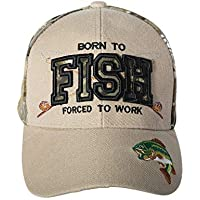 Artisan Owl Born to Fish, Forced to Work - Funny Fishing Hat - Fisherman Gift Embroidered Cap