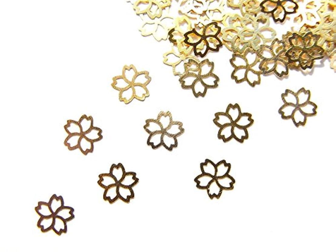 長方形爆風マトン【jewel】ug26 春ネイル 薄型ゴールド メタルパーツ 桜 サクラ Lサイズ 10個入り ネイルアートパーツ レジンパーツ