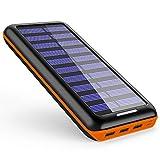 モバイルバッテリー 24000mAh ソーラーチャージャー 大容量 ソーラー充電器 急速充電 USB扇風機一本付属2USB入力ポート(2.1A+2.1A) 3USB出力ポート(2.4A+2.4A+2.4A) Android/Apple/iPad等に対応